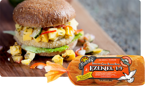 Vegan Mango Chutney Burger on an Ezekiel 4:9 Sprouted Grain Burger Bun
