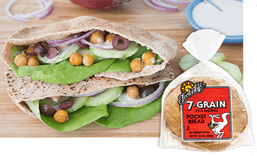 Mediterranean spring pitas made with Food For Life 7-Grain Pocket Bread