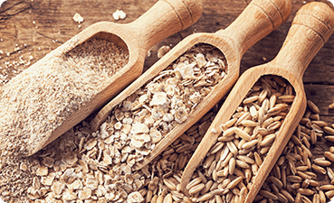 Scoops of various grains and seeds