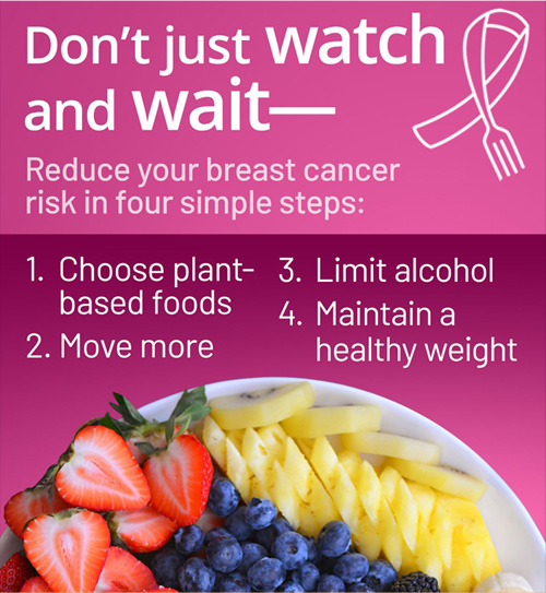 Don't just watch and wait- Reduce your breast cancer risk in four simple steps: 1. Choose plant-based foods  2. Move more  3. Limit alcohol  4. Maintain a healthy weight