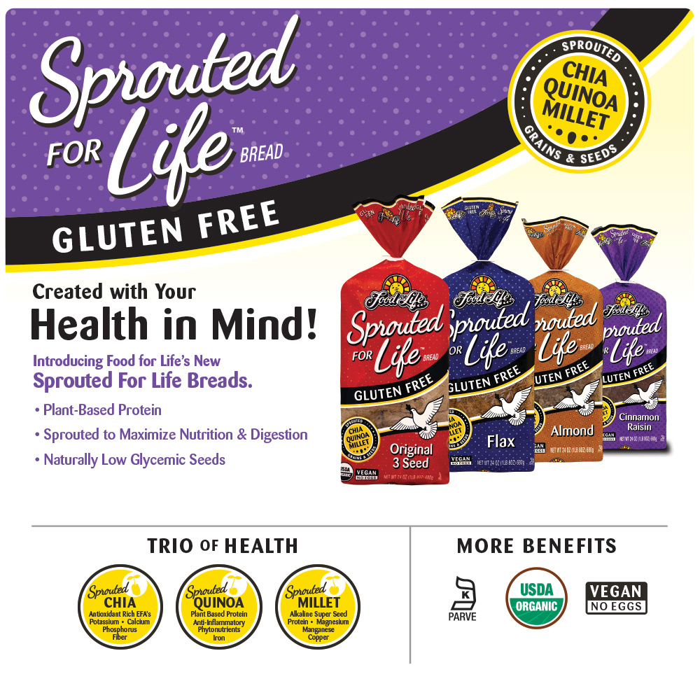 Sprouted for Life Bread - Created with Your Health in Mind! - Plant-Based Protein, Sprouted to Maximize Nutrition & Digestion, and Naturally Low Glycemic Seeds