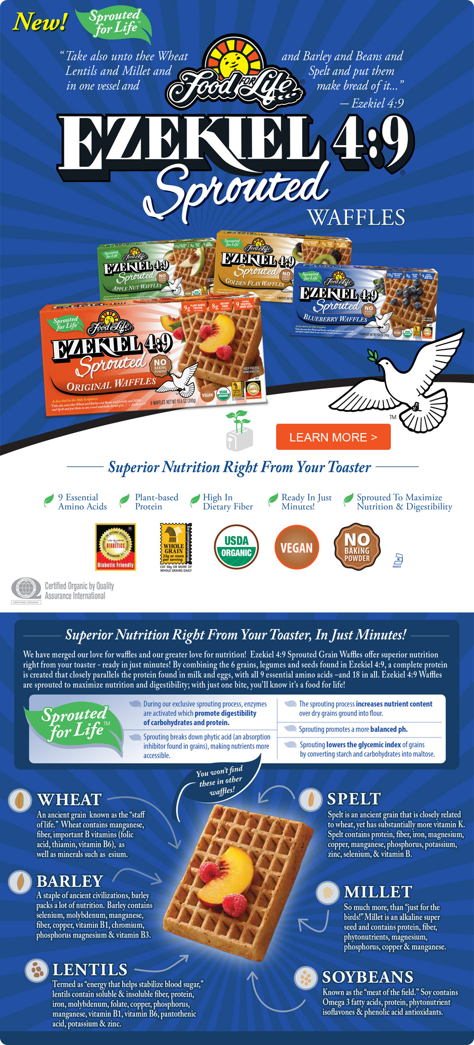 9 Sprouted Waffles - 4 Flavors - Original, Blueberry, Golden Flax, and Apple Nut. - Superior Nutrition Right From Your Toaster
