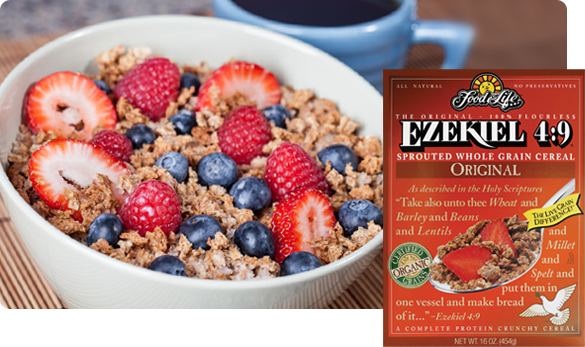 Sprouted whole grain cereal and fruit