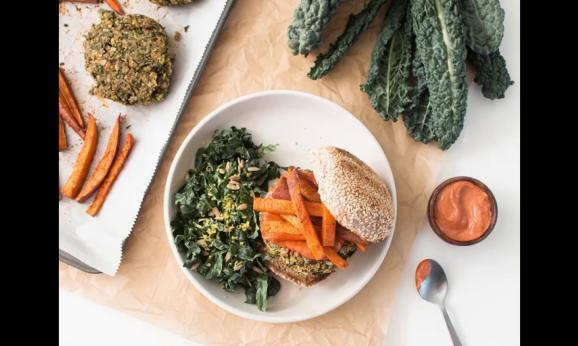Embedded thumbnail for Kale-Chickpea Burgers with Sweet Potato Fries