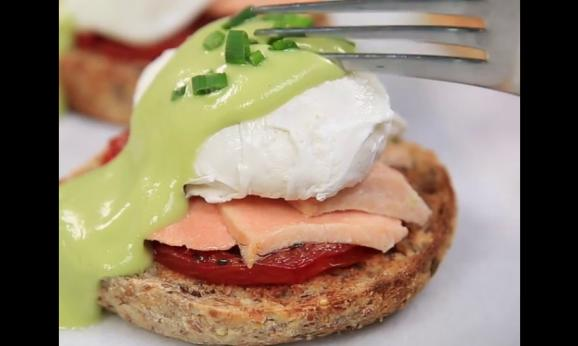 "Embedded thumbnail for Salmon Benedict with Avocado ""Hollandaise"""